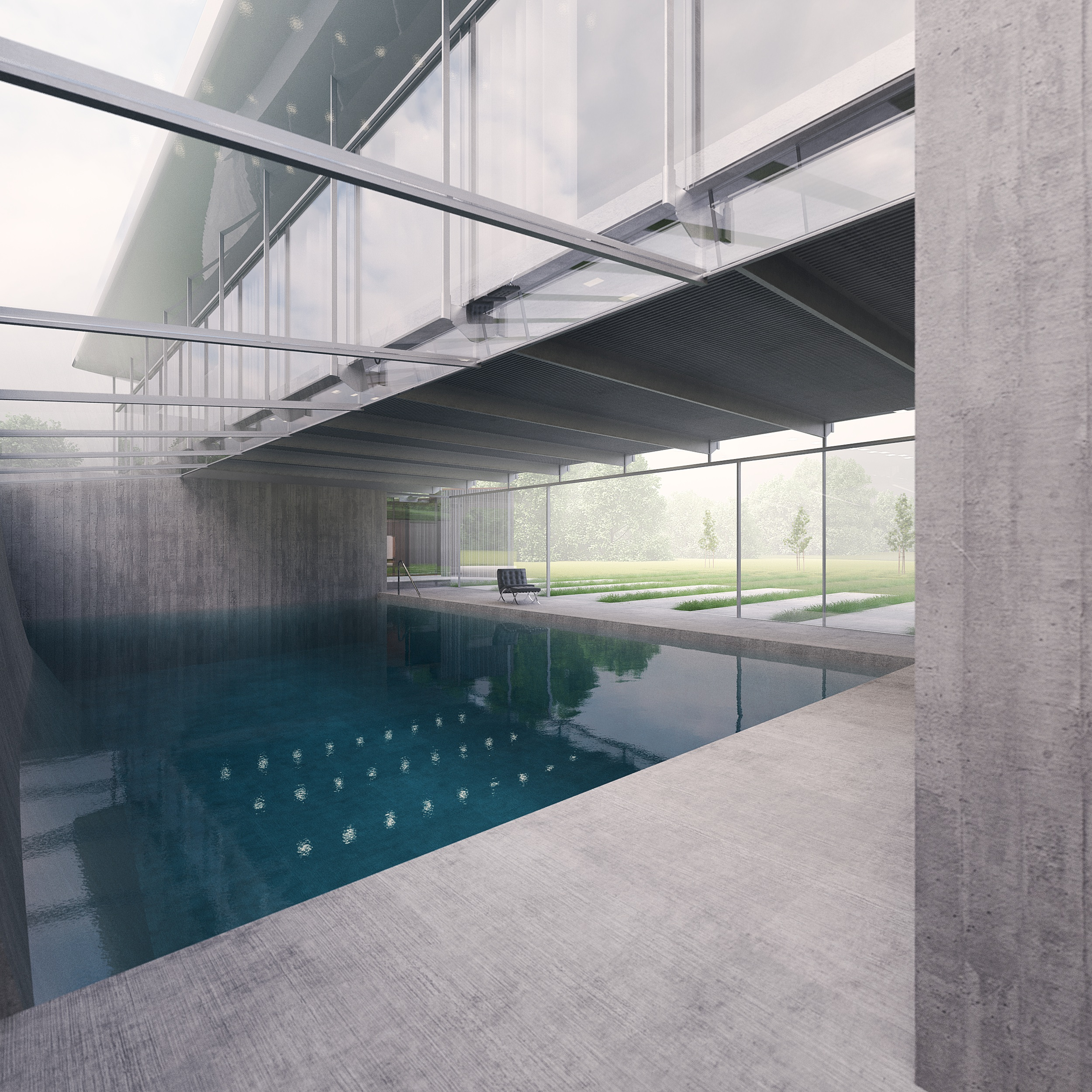 Hugh Cullum Architects New House and Landscape Huntingdonshire - pool interior view
