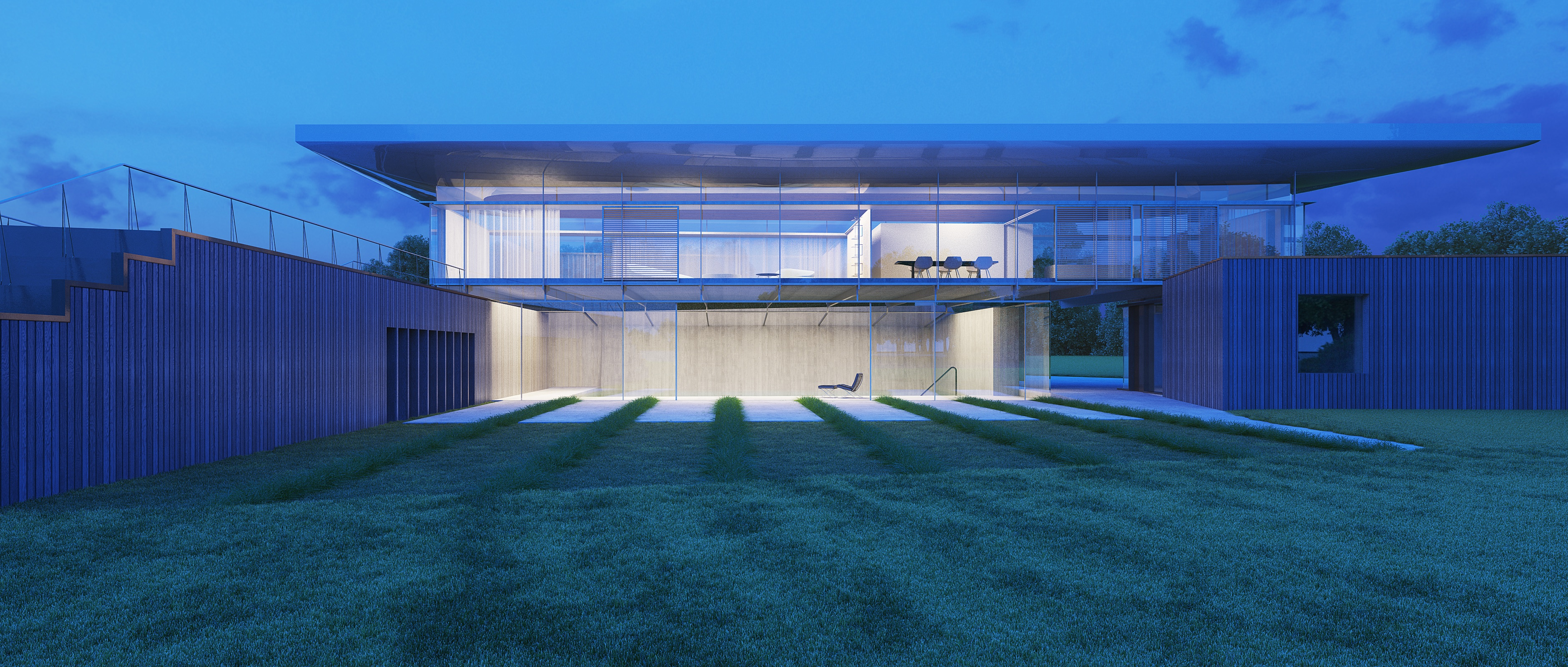 Hugh Cullum Architects New House and Landscape Huntingdonshire Night View